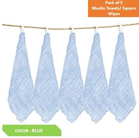 Square Baby Muslin Towel Wipes, 10x10-inches (Blue, 0-18 Months) - Pack of 5