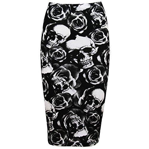 Falda tubo ceñida de cintura alta y a media pierna. Para mujer. Ideal para fiestas de noche Rose Skull Bone S/M (UK 8/10)