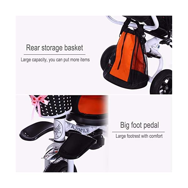 GSDZSY - 4 IN 1 Luxury Children Tricycle, Adjustable Seat, Baby Can Sit Or Lie Flat, Foldable Frame With Shock Absorber, 1-6 Years Old GSDZSY ❀ Material: High carbon steel + ABS + rubber wheel, suitable for children from 1 to 6 years old, maximum load 30 kg ❀ Features: The frame can be folded, the seat can be rotated 360; the backrest can be adjusted, the baby can sit or lie flat, the push rod and the parasol can be adjusted, suitable for different weather conditions ❀ Performance: high carbon steel frame, strong and strong bearing capacity; rubber wheel suitable for all kinds of road conditions, good shock absorption, seat with breathable fabric, baby ride more comfortable 8