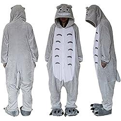 Forro Polar superior al aire libre Totoro Onesie traje de Cosplay capuchas/Unisex pijamas/dormir desgaste Azul azul Talla:XL (height 159-190cm)