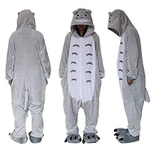 Extérieur en polaire Dessus Totoro Combinaison Unisexe Cosplay Costume à capuche/pyjama/veille Porter XL Bleu - Bleu