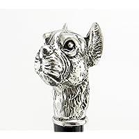 Bastone passeggio cane boxer peltro colore argento legno antico classico elegante personalizzabile cavagnini nostra produzione - Cane Antico