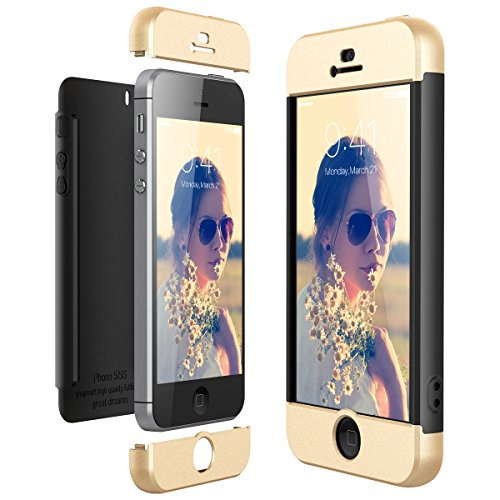 CE-Link Coque iPhone SE Coque iPhone 5S/5, Housse Etui en PC Matière pour Apple iPhone 5/5s/iPhone SE 360 Degrés Complète Protecteur Anti-égratignures Cover - Or + Noir