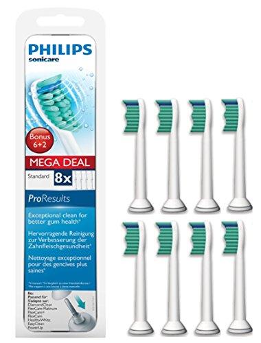 Philips Sonicare HX6018/07 Original ProResults Aufsteckbürsten Standard, 8er Pack, weiß