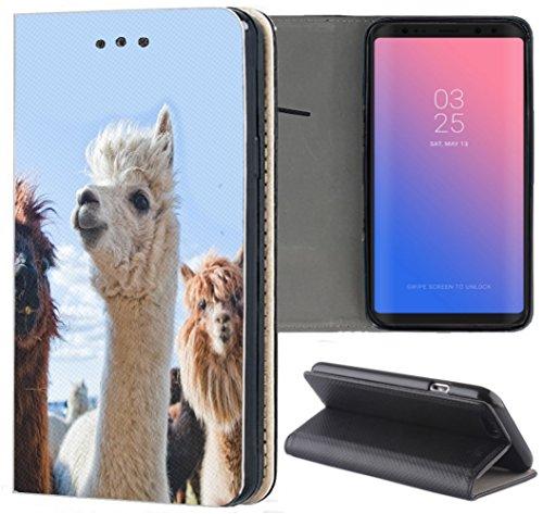 S3 Neo Hülle Premium Smart Einseitig Flipcover Hülle Samsung S3 Neo Flip Case Handyhülle Samsung S3 Motiv (578 Lama Weiß) ()