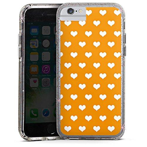 Apple iPhone 8 Bumper Hülle Bumper Case Glitzer Hülle Herzchen Pattern Muster Bumper Case Glitzer rose gold