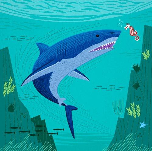 Posterdruck TThe Shark and The Seahorse von Oliver Lake, limitierte Auflage (Shark-grafik)