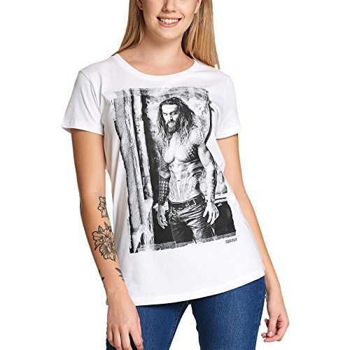 Justice League Damen T-Shirt Aquaman DC Comics von Elbenwald weiß - XXL - Für Frauen T-shirts Woman Wonder