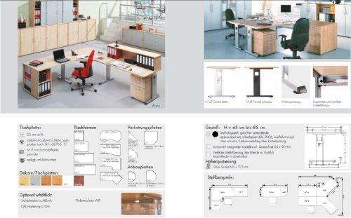 Bümö® Schreibtisch für das Büro | Bürotisch in 6 Dekoren & 7 Größen verfügbar | Büroschreibtisch (Weiß, 80_x_180_cm) - 4