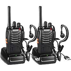 Nestling Talkies-Walkies BF-88E, 16 Canaux Talkie Walkie Rechargeable 1500mAh, Radios PMR Professionnelle Portée 3-5 km, pour Chantiers, Randonnées, Sécurité (2PCS)