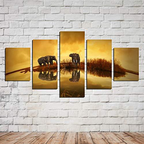 JHFVB Cinco peleas de Elefantes juegan Animales Pintura al óleo hogar Sala...