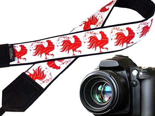 red-rooster-cinghia-della-fotocamera-gallo-stilizzato-imbottito-cinghia-della-fotocamera-rosso-e-bia