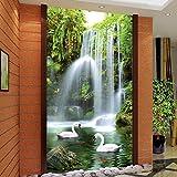 Pbldb Stereo-Schwan-Wasserfall-Foto-Wandtapete Des Chinesischen Art-3D Wohnzimmer-Hotelrestaurant-Eingangstapete3D-280X200Cm