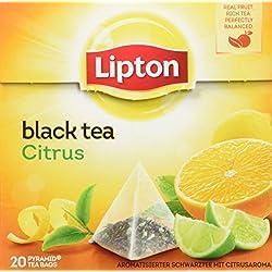 Lipton Schwarztee Zitrone Pyramidenbeutel, 20 Stück, 3er Pack