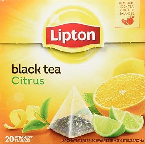 Lipton Schwarzer Tee Zitrone Pyramidenbeutel, 20 Stück, 3er Pack (60Stück)