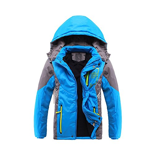 Back to School Boys and Girls Kids Thicked Warm Windproof Jacket with Hood, Taped Seams and Zip Up Pockets Age of 3-12