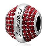 Geburtsstein-Charm, 925Sterling-Silber, Anhänger-Charm, für Pandora-Armband Januar