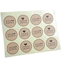 quanjucheer 120Pcs Kraft Labels- DIY Love Kraft Stickers - for Jam Jars, Home Baking, Handmade Gifts