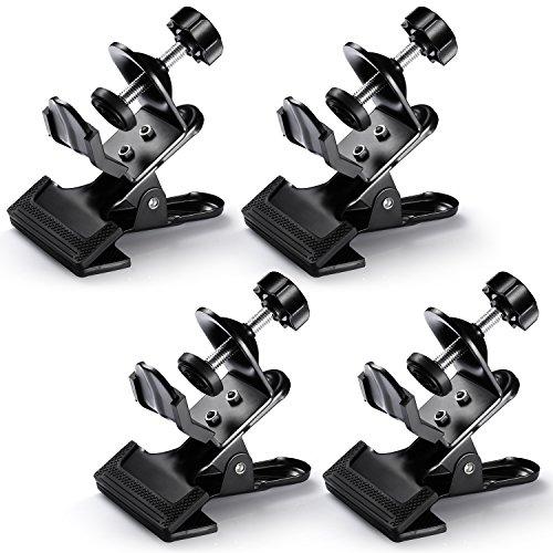 Neewer® 4er Pack Multi-Funktions-Schwarz Klammer Clip-Halter mit U-Halter für Fotografie Studio-Aufnahmen Lampenstativ-Stativ Ausleger Arm, Hintergrund-Unterstützung