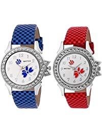 Matrix White Studded Dial, Blue & Red Leather Strap Analog Watches For Women/Girls - Combo (Pack Of 2) (BAE-7)