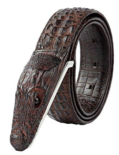 Full-grain-leder-shell (Herren Echtes Büffel Leder Gürtel mit Schlupf Schnalle Jeans Hose Gürtel Voellig verstellbar 35MM Braun 105cm)