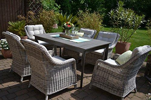 Gartenmöbel Set Como 6 Tisch Ausziehbar Holzdekor Mit 6 Sessel Rattan  Polyrattan Geflecht