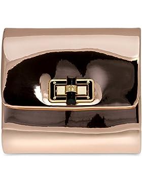 CASPAR TA387 stylisch kleine Damen Metallic Lack Mini Koffer Clutch Tasche / Abendtasche mit langer Kette