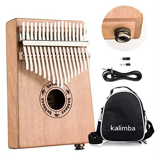 Yubbaex Kalimba 17-Tasten-Daumen-Klavier Mbira Tragbares Klavier, elektrischer Finger, Daumen, Klavier und Mahagoni-Körper, integrierter Hi-Fi-Tonabnehmer mit 6,35 mm Audio-Schnittstelle