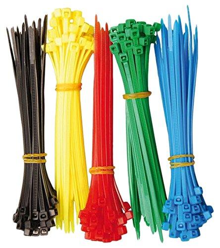 Kraftmann 80875 Assortiment de serre-câbles 2,4 x 100 mm 5 couleurs Lot de 200 pièces