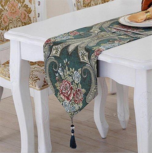 ADDMAT® Tischläufer Europa Französisch Klassik luxuriös Chenille Tischdecken Samt Klavier Restauranttische Teetisch Meal Beistellschrank rote grün blau , B , 32*160 Rot Polka Dot Tischdecke