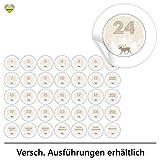 cute-head 24 Adventskalender-Zahlen + 11 Motive (Aufkleber Etiketten Sticker) | Winterlandschaft mit Rentier | 1 bis 24 | Rund | S » Ø 24 mm | Beige | FA0016-04