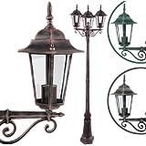 Lampadaire de jardin - A++ à E - Rouille Gris - hauteur 221 cm - avec 3 Luminaires - DIVERSES COULEURS AU CHOIX