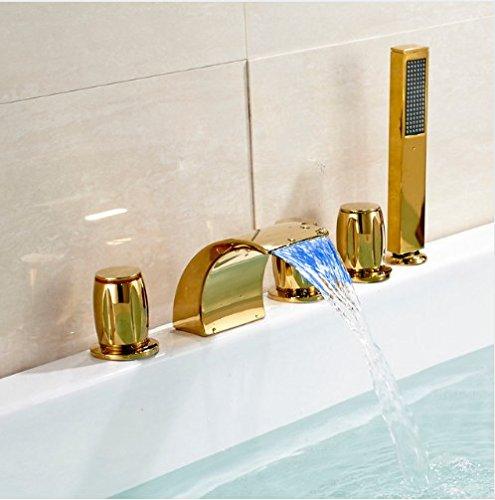 Gowe Badezimmer LED Farbwechsel Farbe Wasserfall Badewanne Wasserhahn 3Hanles Einhebelmischer Gold Finish -