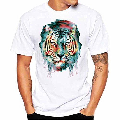 Longra Herren T-Shirt Kurzarmshirt Top Abstrakte Tiger 3D Print-Shirts Oversize Shirt Weiß Casual Basic Shirts O-Neck Männer Sportshirts Coole T Shirts Bluse (M, White 02) -