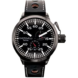 Chotovelli Big Pilot Men's Watch Multifunction Analogue display Black leather Strap 79.09