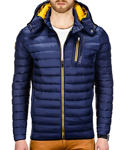 BetterStylz MannewBZ Herren Winterjacke Abnehmbare Kapuze Daunenlook Bubble Jacket Schwarz Grau Orange Blau ( S, M, L, XL, XXL) (Kapuze Bubble Jacket)