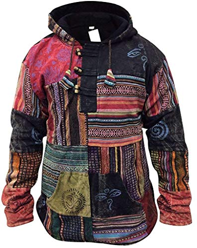 SHOPOHOLIC FASHION Herren Patchwork Aus fleece Pullover Jacke - Mehrfarbig, XX-Large