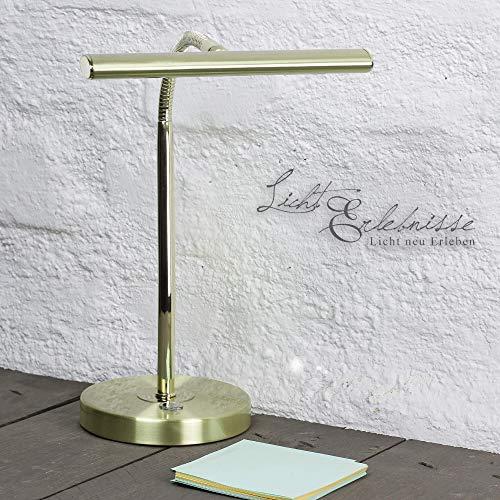 Edle LED Tischleuchte Klavierleuchte klassische in Messing Optik 4 Watt LED Tischlampe Klavierlampe für Innen Beistelltisch