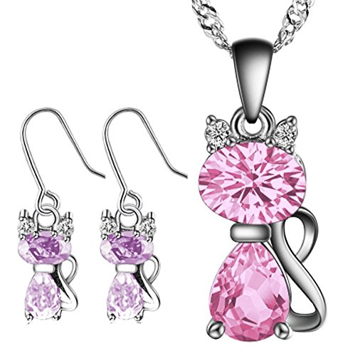 saysure-925-sterling-silver-jewelry-sets-cat-pendant