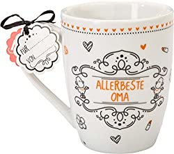Sheepworld 59264 Lieblingstasse Allerbeste Oma, Porzellan-Tasse, mit Geschenk-Anhänger