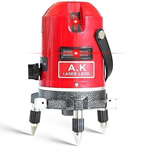 AK Laser Rotatif à 360°, Croix, 5Lignes 6Points Mode extérieur et Mode Tilt, Auto Nivellement 635nm