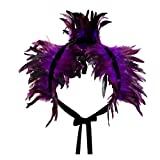 keland Victorian reale natürliche Feder Shrug Schal Schulterumhang Cape Gothic Kragen Halloween-Kostüm (Violett)