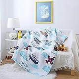 Steppdecke von Ustide für Babybetten, doppelseitige Decke aus Baumwolle für Kinder, 110 x 130 cm, Zug-Design, baumwolle, Hubschrauber, 43