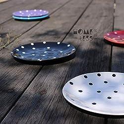 YUWANW Creativa Personalidad Simple Vajilla De Cerámica Lunares Placa Plana De Ocho Pulgadas Plato De Filete Plato Occidental Plato De Fruta Ensalada, Blanco