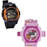 Shanti Enterprises Combo Hello Kitty 24 Images Projector Watch And Sports Watch Multi Color Dial For Kids - B07573BK8H