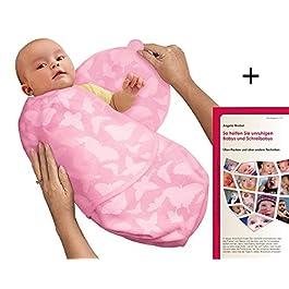 SwaddleMe MP2BF Neugeborenes/Microfleece/rosa-Schmetterlinge - Ganzkörper-Pucksack ist ideal bei Schreibabys. Small.