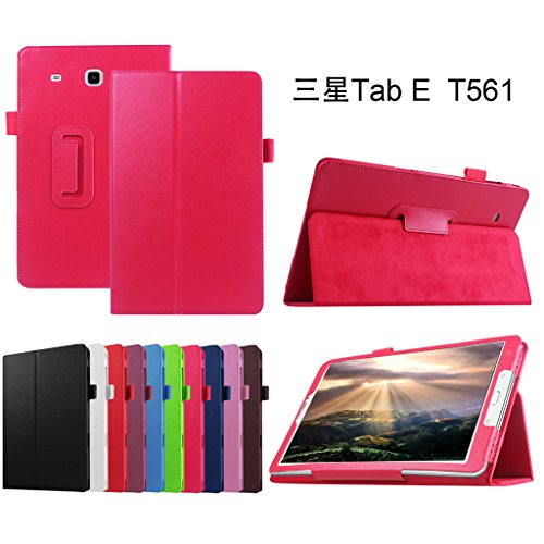 Mama Mouth PU Leder Folio 2-Folding Stand Cover mit Stylus Halterung für Samsung Galaxy Tab E 9,6/E Nook 24,4cm T560T561T567Verizon 4G LTE Rot Rosarot