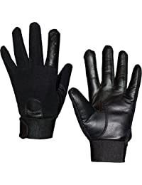 Unisex Mens Womens Semi Leather Gloves Stretch Fit s-m-l
