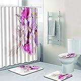Tenda della toilette Set doccia a forma di fiore stampato bianco + tappetino da bagno + tappetino da bagno + tappetino a forma di U, set di 4 Tenda decorativa ( Dimensione : 45*75+35*45+37.5*45cm )