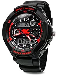TOPCABIN Digital-analog Boys Girls Sport Digital Watch with Alarm Stopwatch Chronograph - 50m Water Proof (red)